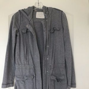 Ann Taylor loft long grey sweater jacket